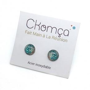 Boucles d'oreilles puces artisanales motifs marins en acier inoxydable - Ckomca