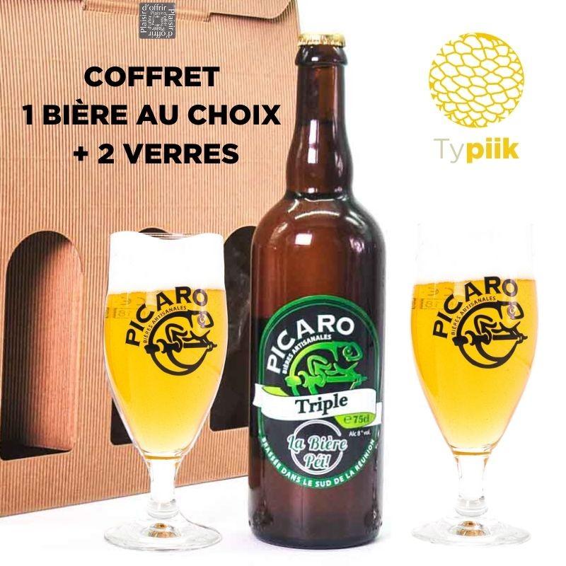 Coffret cadeau 1 bière + 2 verres - Picaro