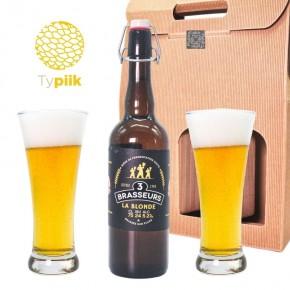 Coffret cadeau 1 bière + 2 verres - 3 Brasseurs