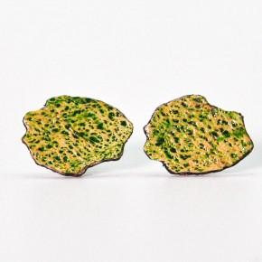 Boucles d'oreilles artisanales carte de La Réunion - Lafécafé - coloris vert anis