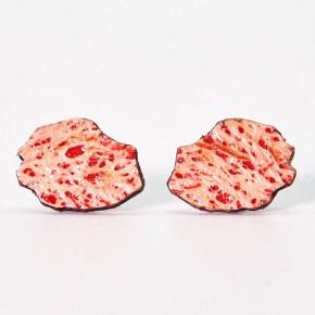 Boucles d'oreilles artisanales carte de La Réunion - Lafécafé - coloris rouge